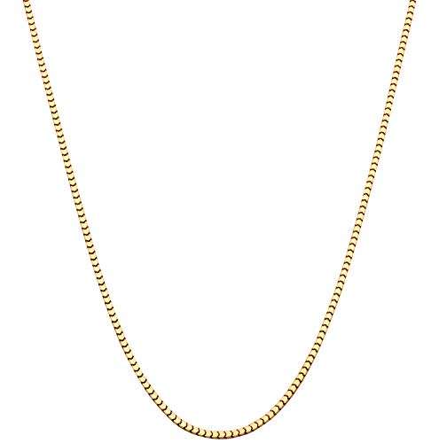Gold 10k Venetian Necklace Box (MiaBella 18K Gold Over Sterling Silver Italian Thin 1.6mm Square Venetian Mirror Box Link Chain Necklace for Men Women, 16