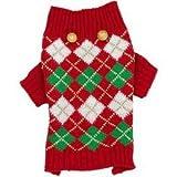 Wag-a-tude Holiday Argyle Dog Sweater~XS~