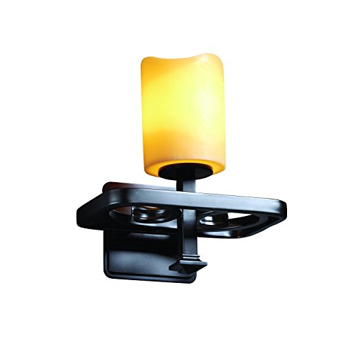 - Justice Design Group CandleAria 1-Light Wall Sconce - Matte Black Finish with Amber Faux Candle Resin Shade