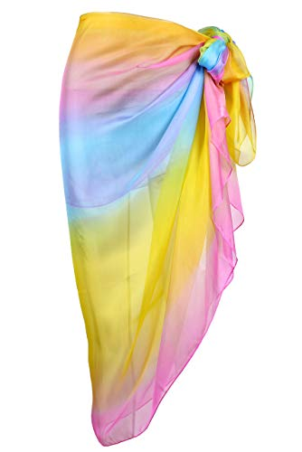 Rainbow Swimsuit Womens - CHIC DIARY Women Chiffon Pareo Beach Wrap Sarong Swimsuit Scarf Cover Up for Vacation (Rainbow Gradient(76.8