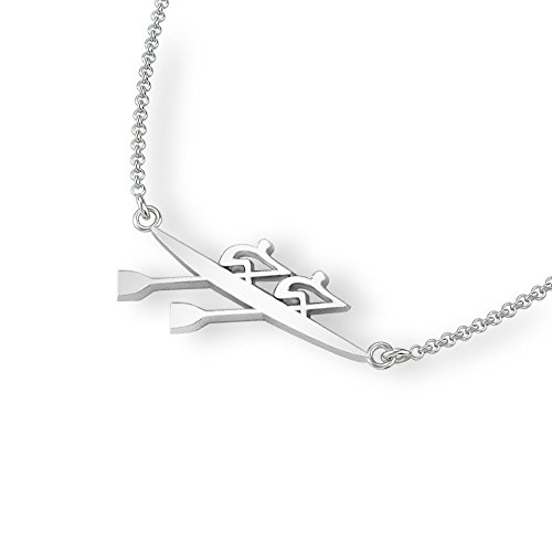 Strokeside Designs Rowing Double Scull Necklace in 925 Sterling Silver/Oar Pendat with 18