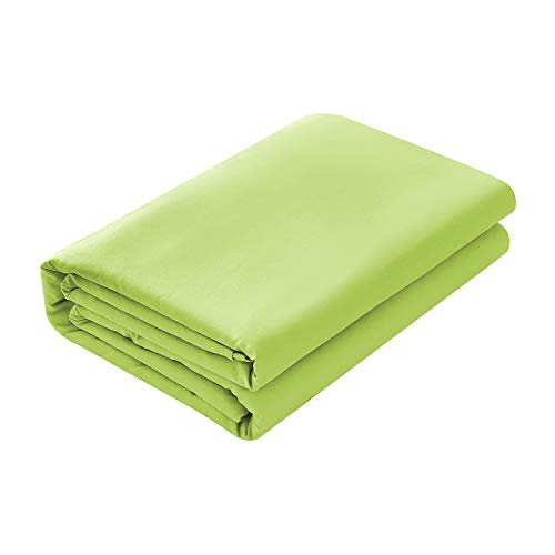 Basic Choice Flat Sheet, Breathable, Extra Soft Microfiber 2000 Bedding Top Sheet - Wrinkle, Fade, Stain Resistant - Hypoallergenic - (Lime Green, Full)