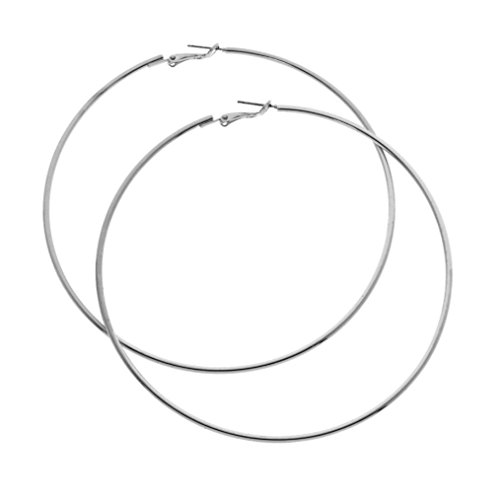 Silver Plated Circle Hoop Earrings 90mm LARGE (Standard & Most Popular Size) ()