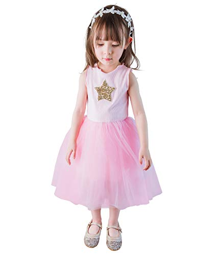 Sequined Star - Dressy Daisy Toddler Girl Tulle Dress Sequined Star Birthday Party Dresses Summer Holiday Outfit Size 4T Pink