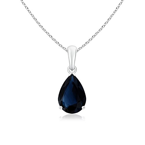 GIA Certified Pear-Shaped Sapphire Solitaire Pendant in 18K White Gold (10.77x8.73x4.09mm Blue (18k Gold Pear Shaped Sapphire)