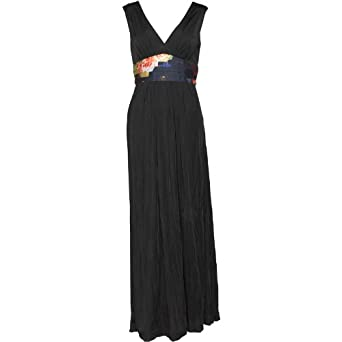 186a12ddefbdc Womens Ted Baker Sophika Printed Detail Maxi Dress Black Girls Ladies (0  Size 0 UK
