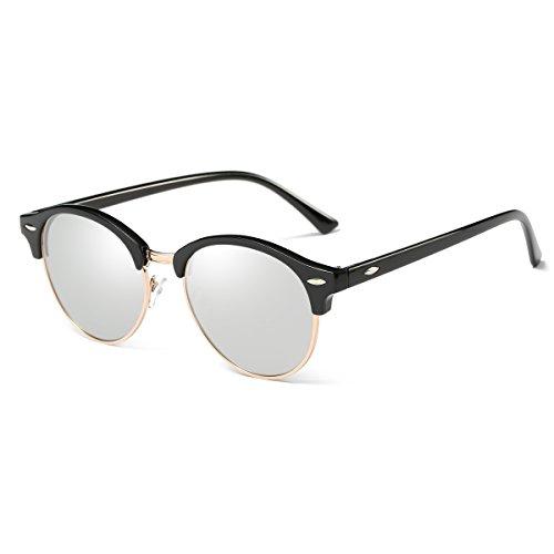 AZORB Polarized Clubmaster Round Sunglasses Unisex Semi-Rimless Horn Rimmed (Black/Silver Mirrored, - Clubmaster Clubround