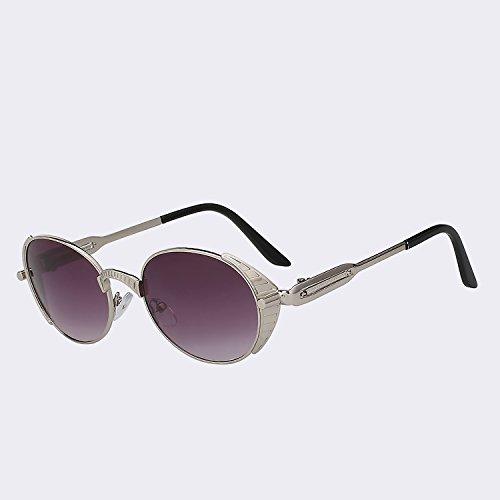 de Vintage Hombres humo calidad s400 marca Mujer de del oval estilo gafas Silver plata sol s Mujeres UV de metal gafas de sol alta Gafas TIANLIANG04 de smoke Retro punk dibujo de qSZFt