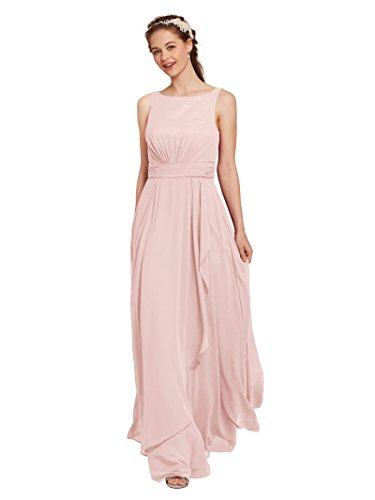 Chiffon Pleats Evening Gown - AWEI Chiffon Bridesmaid Dresses Long Formal Dresses for Women Prom Dresses 2018 Formal Gown, Pearl Pink, US8