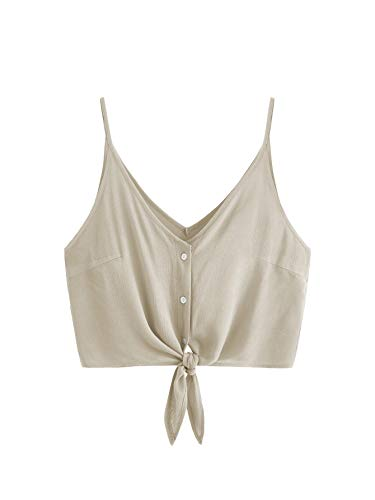 MAKEMECHIC Women's Casual V Neck Button Seft Tie Front Crop Cami Tops Camisole Khaki -