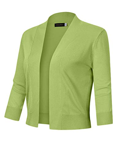 GloryStar Women's 3/4 Sleeve Open Front Cropped Cardigan Sweater Lightweight Knit Short Shrugs (XL, Lime)