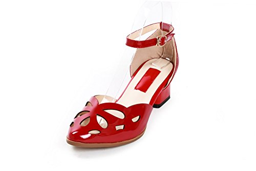 Pointed Hollow Red Toe Heels Cow Out Women's Winkle with WeenFashion Sandals and Kitten Leather Pinker YZwX7xq6