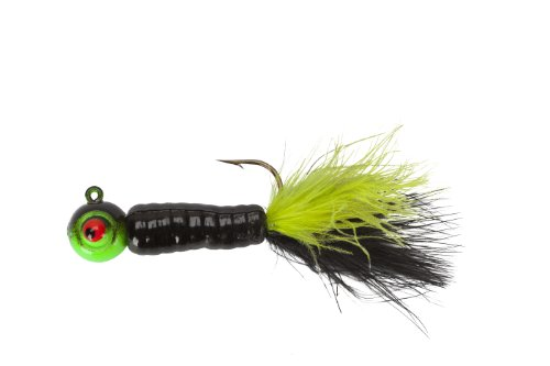 Lindy Fuzz-E Grub Jigs - Black/Chartreuse - 2 in - 1/4 oz
