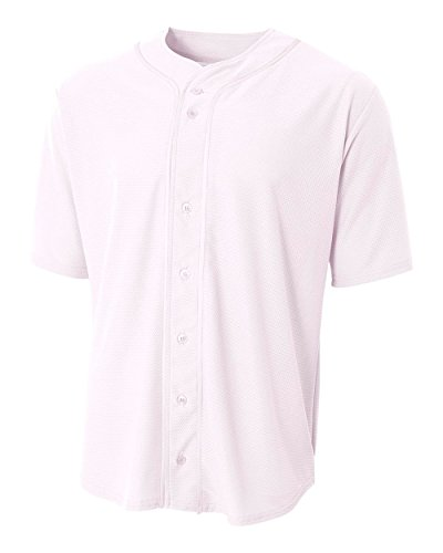 Girls Full Button Jersey (White Youth Small (Blank) Full-Button Baseball Wicking Jersey)