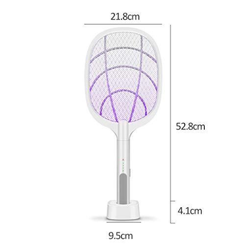Smemek Racchetta Zanzare Elettrica USB Ricaricabile Antizanzare Efficace Contro le Mosche Ideale per Interni ed Esterni (bianca, A)