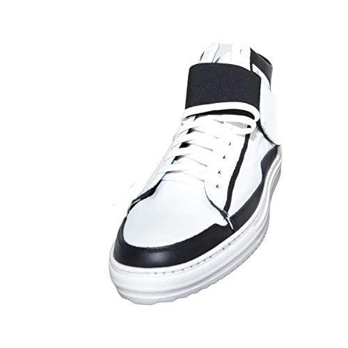 Fondo Con Bianco Alta Elastico Nero Bicolore Ed Vera Italy C Strappo 8189 Made Sneakers In nero Antiscivolo Pelle Art daRqqYnz