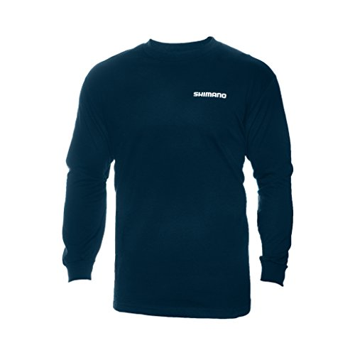 Shimano Long Sleeve Cotton Tee-Shirt, Medium, Navy (Shimano Fishing Shirts For Men)