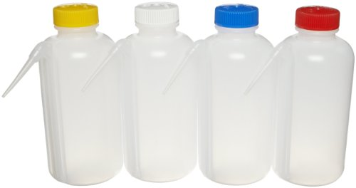 Nalgene 2423-0500 LDPE Color-Coded Unitary Wash Bottle, 500mL Capacity, Colored Polypropylene Screw Cap, Assorted Cap Colors, Pack of Four