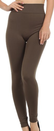 Sakkas X003XT Warm Soft Fleece Lined High Waist Leggings - Olive - One Size Plus