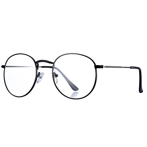 Pro Acme Classic Round Metal Clear Lens Glasses Frame Unisex Circle Eyeglasses (Black)
