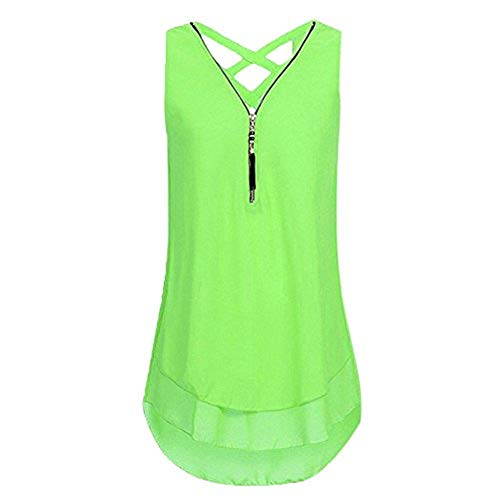 Women Tops Casual Plus Size Blouse Loose Sleeveless Tank Top Cross Back Hem Layed Zipper V-Neck T Shirts Tops Mint Green