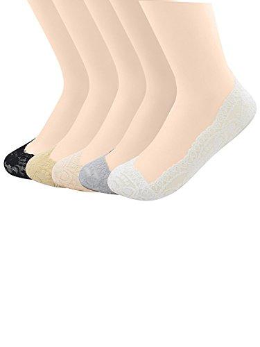 Passionate Adventure Soft Floral Lace Low-Cut Liner Hidden Flat Footie Boat Socks 5 Pairs (Mix Match Jordans)