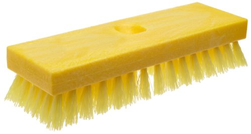(Rubbermaid Commercial FG9B3600YEL Plastic Block Deck Brush with Threaded Handle Hole, Polypropylene Fill, Yellow)