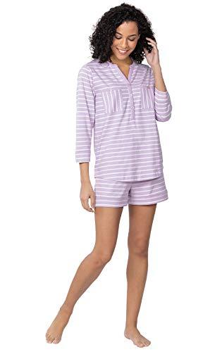Addison Stripe - Addison Meadow Women PJs Sets - Womens Pajama Shorts, Lavender Stripe, XL / 16