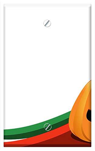 Single-Gang Blank Wall Plate Cover - Halloween Pumpkin Orange Rock Cliff -