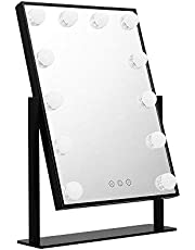 Embellir Vanity Mirror 9 LED Lighted Makeup Mirror with Hollywood Design,Touch Screen and 360°Free Rotaion for Dressing Table Desk Countertop Cosmetic(Black)