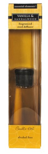 Sandalwood Diffuser Reed - Candle-lite Essential Elements 3.3-Ounce Reed Diffuser, Vanilla and Sandalwood