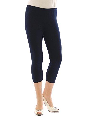 Yeset Femme Legging longueur 3/4 Capri court Leggings cotton BLEU FONCÉ M