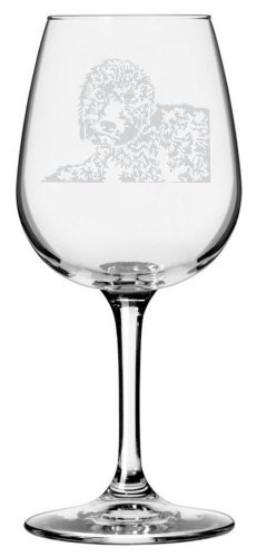 Portuguese Water Dog Themed Etched All Purpose 12.75oz Libbey Wine Glass