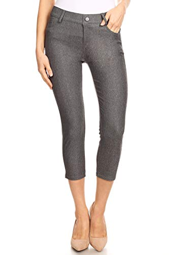 Women's Classic Basic Five Pockets Solid Capri Skinny Jeggings Color Grey Size S