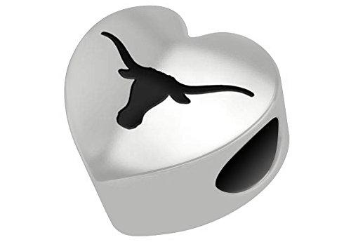 Texas Longhorns UT Sterling Silver Heart Bead Fits European Style Charm (Texas Longhorns Beaded Bracelets)
