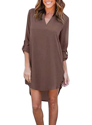 Yidarton Damen Langarmshirt Dünne Chiffon V-Ausschnitt Irregular Longshirt Lose Hemd Bluse Tops (XXXL, Kaffee)