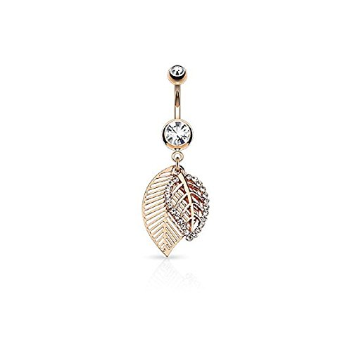 CZ Paved Leaves Dangle 316L Surgical Steel Jeweled Belly Button WildKlass Navel Rings (Rose Gold/Clear)