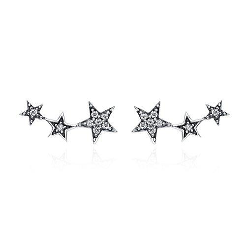WOSTU Girls Star Climber Stud Earrings Womens 925 Sterling Silver Earrings Hypoallergenic Wrap Pin Earrings