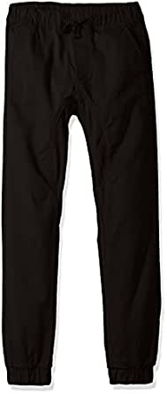 SOUTHPOLE Boy's Basic Stretch Twill Jogger Pants, Black, Small