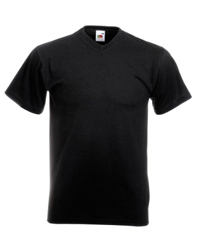 Fruit of the Loom 100 Cotton Valueweight Jersey V-Neck  T-Shirt - Black - Medium