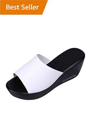 HOSOME Women Casual High Heels Sandals Fish Mouth Platform Slope Sandals Slippers White