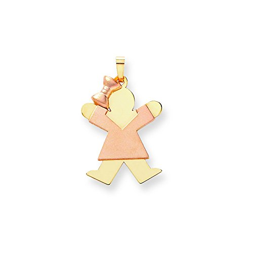 14k Two-Tone Large Girl With Bow On Left Engravable Charm by Shop4Silver