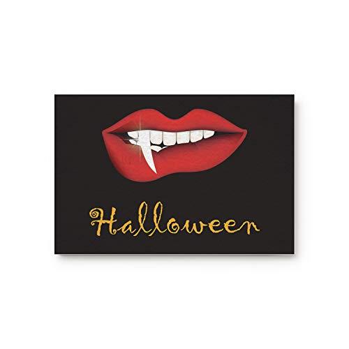 Welcome Doormat Non-Slip Easy Clean Entrance Mat, Halloween Theme Vampire Lip Horror Painting Door Mats for Kitchen Bathroom, 18x30inch