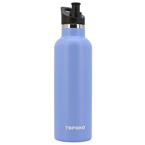 TOPOKO 25 OZ Hydro Double Wall Flask Stainless Steel Water Bottle, Bite Valve Top, Vacuum Insulated, Sweat Proof, Leak Proof Thermos Standard Mouth-SkyBlue