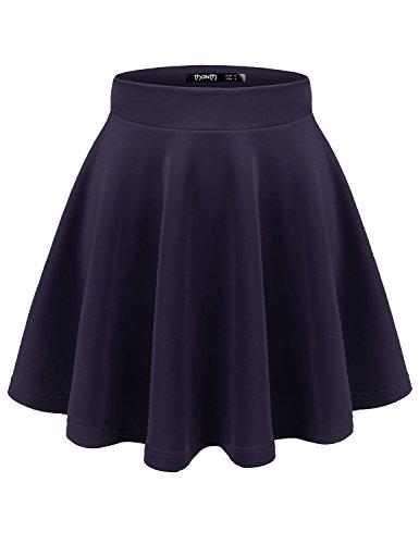 (TWINTH Versatile Elastic Waist Flared Mini Skater Skirt (Plus Navy X-Large)