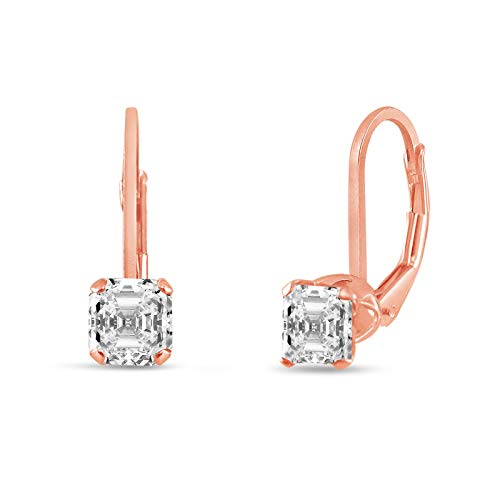 honjejewelry Earrings Sterling Silver 4x4mm asscher Cut Clear White cz leverback for Women 1 Pair (Plating Rose Gold Plated)