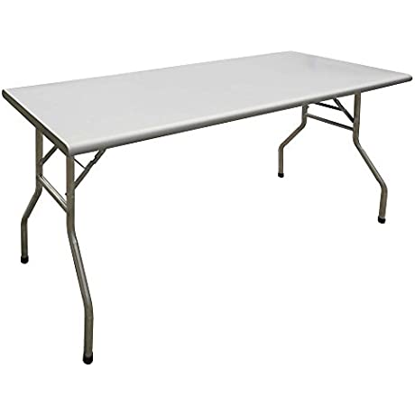 HUBERT Rectangular Stainless Steel Folding Table 72 L X 30 W X 30 7 8 H