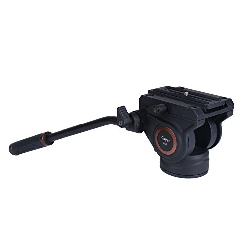 Cayer K3 Fluid Drag Pan Head for Video Tripod Monopod with 1/4 and 3/8 inches Screws Sliding Plate for DSLR Cameras Video Camcorders Shooting Filming, Max Loading 13.2LB
