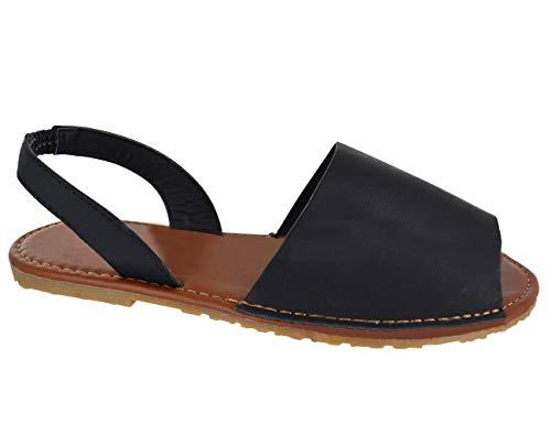 Blivener Womens Casual Sandals Summer Cute Peep Toe Slingback Flat Shoes BLACK42 (10)