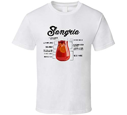 Sangria Bar Alcoholic Drink Bartender Recipe Poster Party Gift T Shirt 2XL White